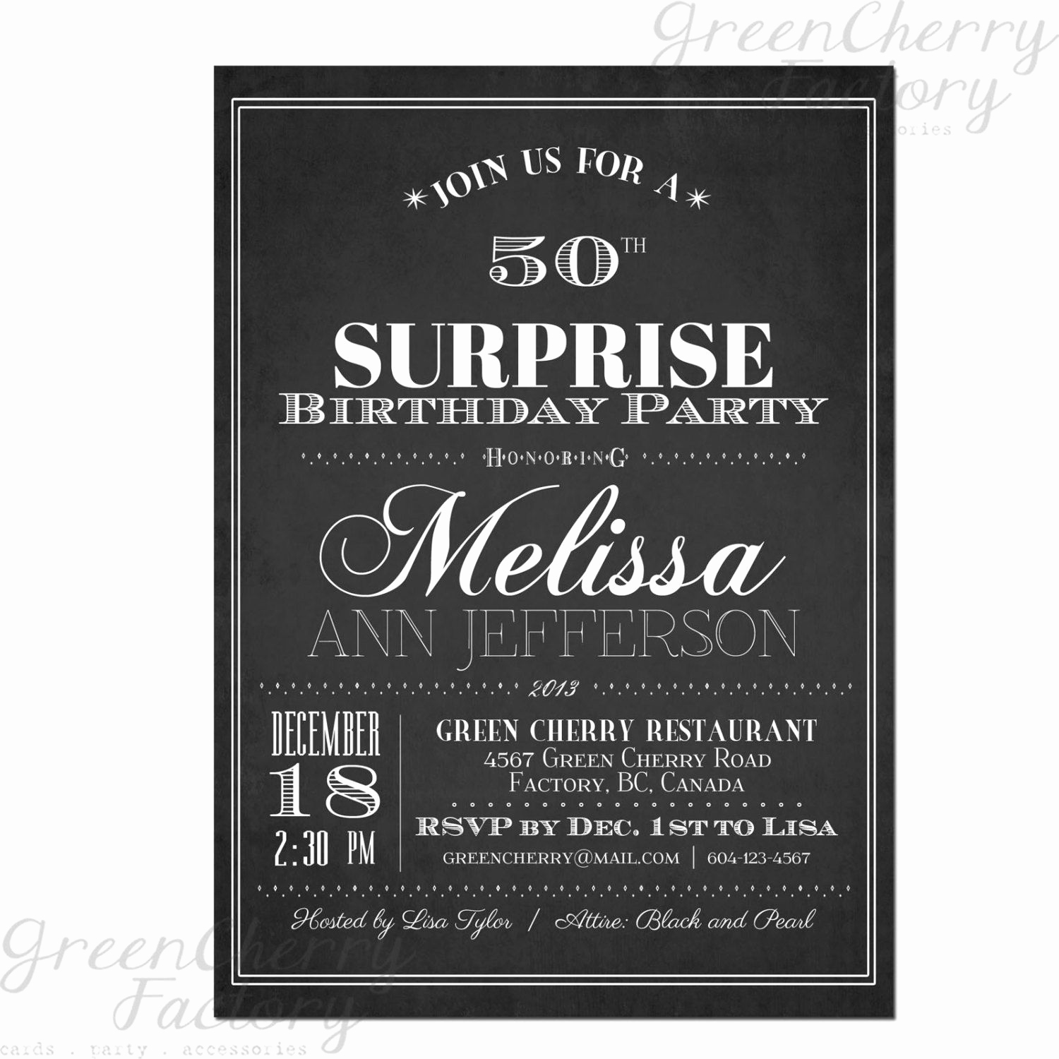 Birthday Invitation Ideas for Adults New Typography Adult Surprise Birthday Invites Chalkboard