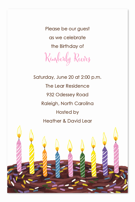Birthday Invitation Message for Adults Best Of Candles and Sprinkles Birthday Invitations by Invitation