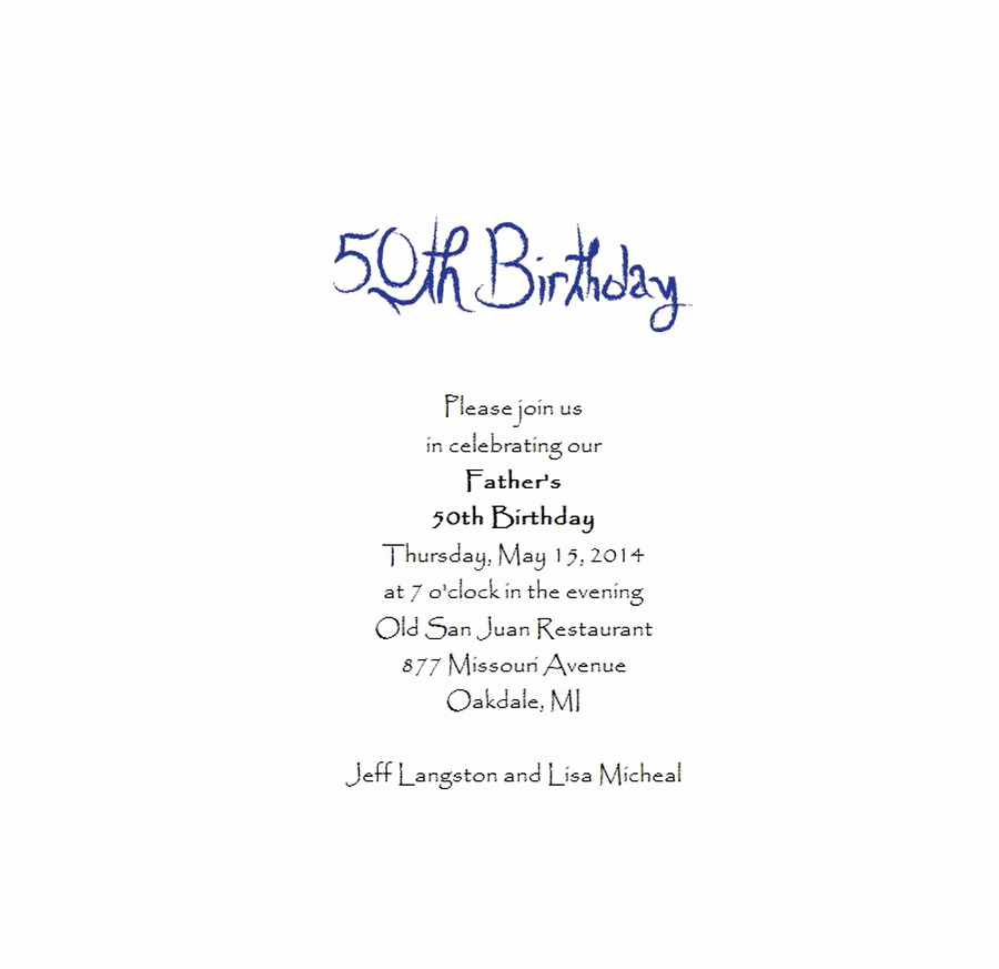 Birthday Invitation Message for Adults Luxury Adult S 50th Birthday Invitation 5 Free Wording