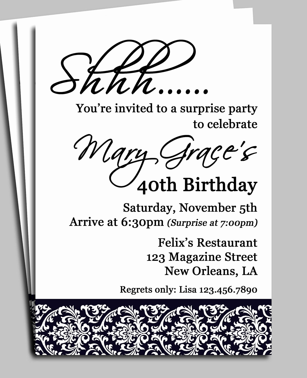 Birthday Invitation Message for Adults Unique Black Damask Surprise Party Invitation Printable or Printed