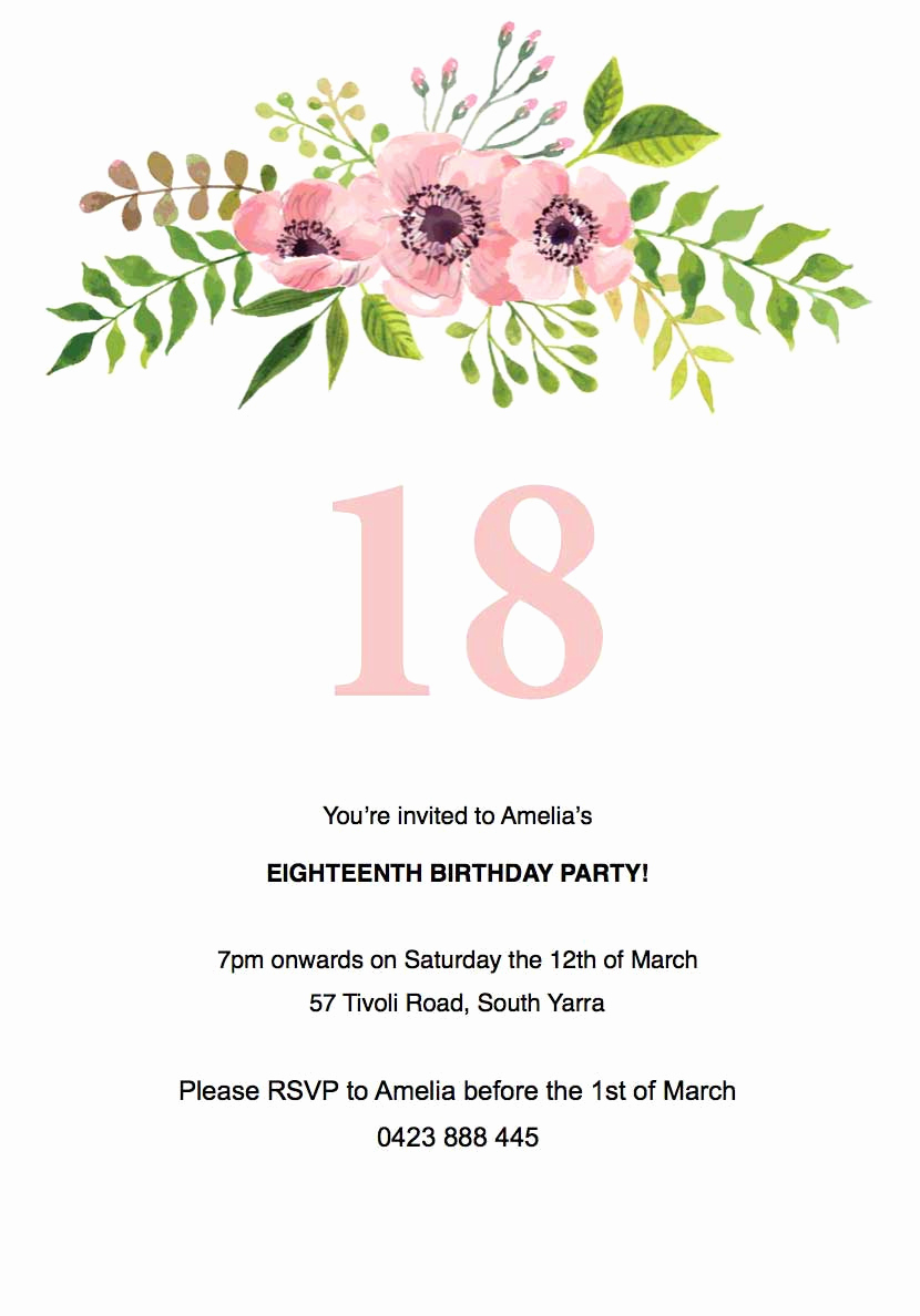 Birthday Invitation Template Word Luxury Floral Birthday Invitation Template Paperlust