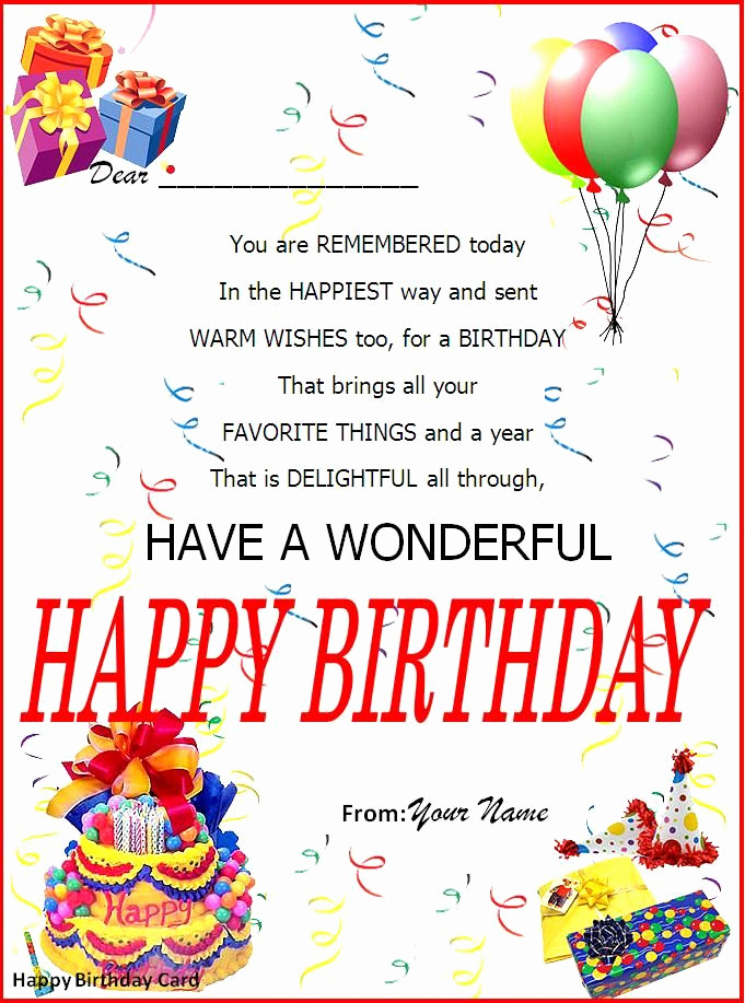 Birthday Invitation Template Word New Birthday Card Word Template