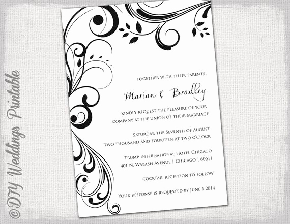 Birthday Invitation Templates Word Best Of Wedding Invitation Templates Black and White