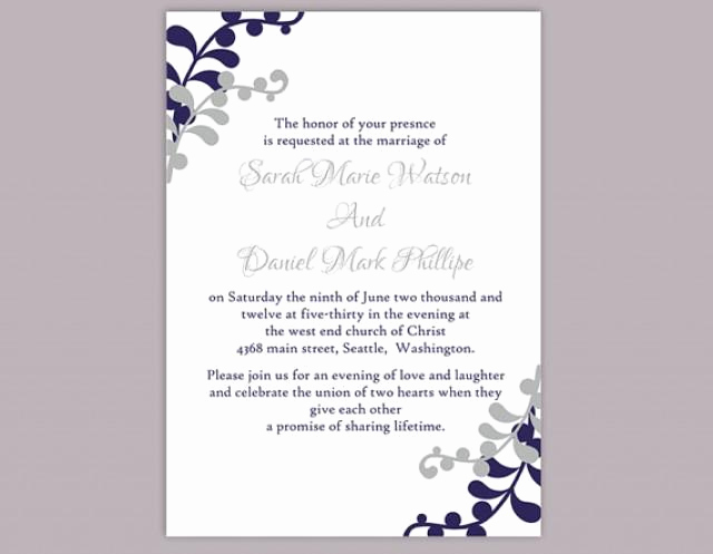Birthday Invitation Templates Word Inspirational Diy Wedding Invitation Template Editable Word File Instant