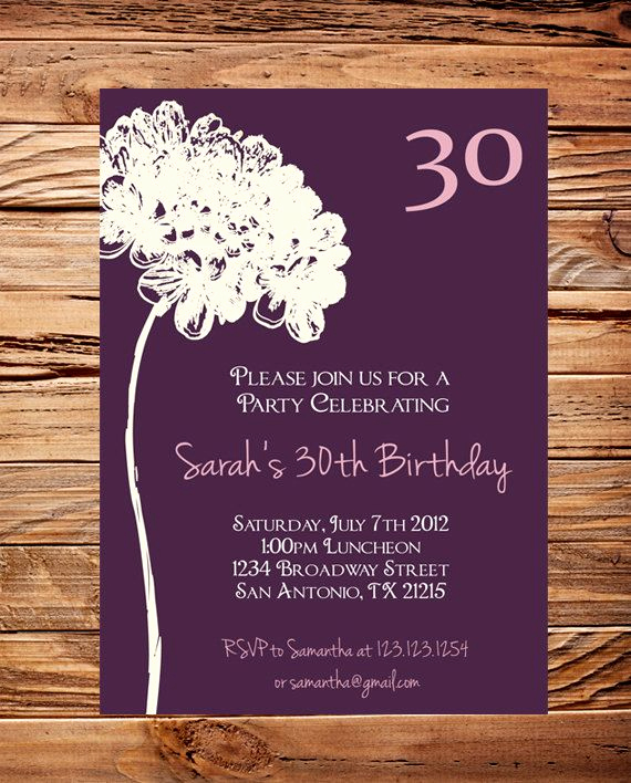 Birthday Invitation Wording for Adults Awesome 30th Birthday Invite 40th 50th Birthday Adult Flower
