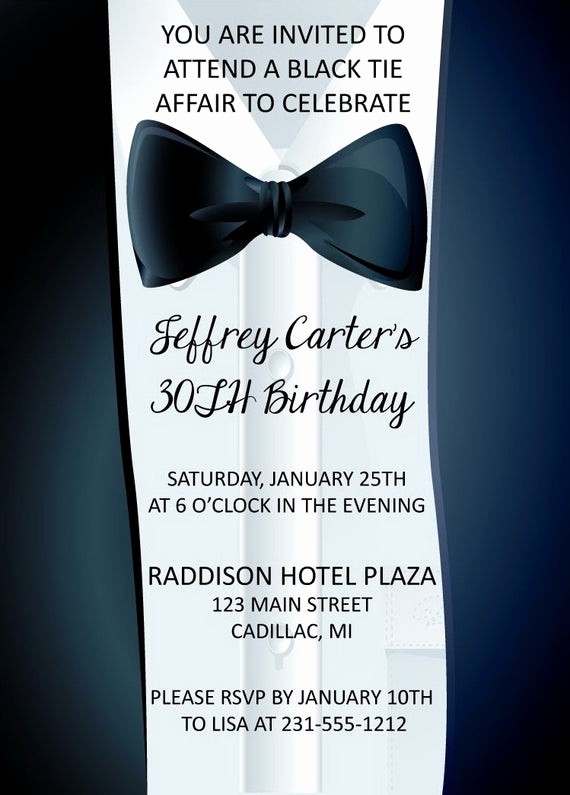 Birthday Invitation Wording for Adults Awesome Adult Birthday Invitation Black Tie Affair Invitation Adult