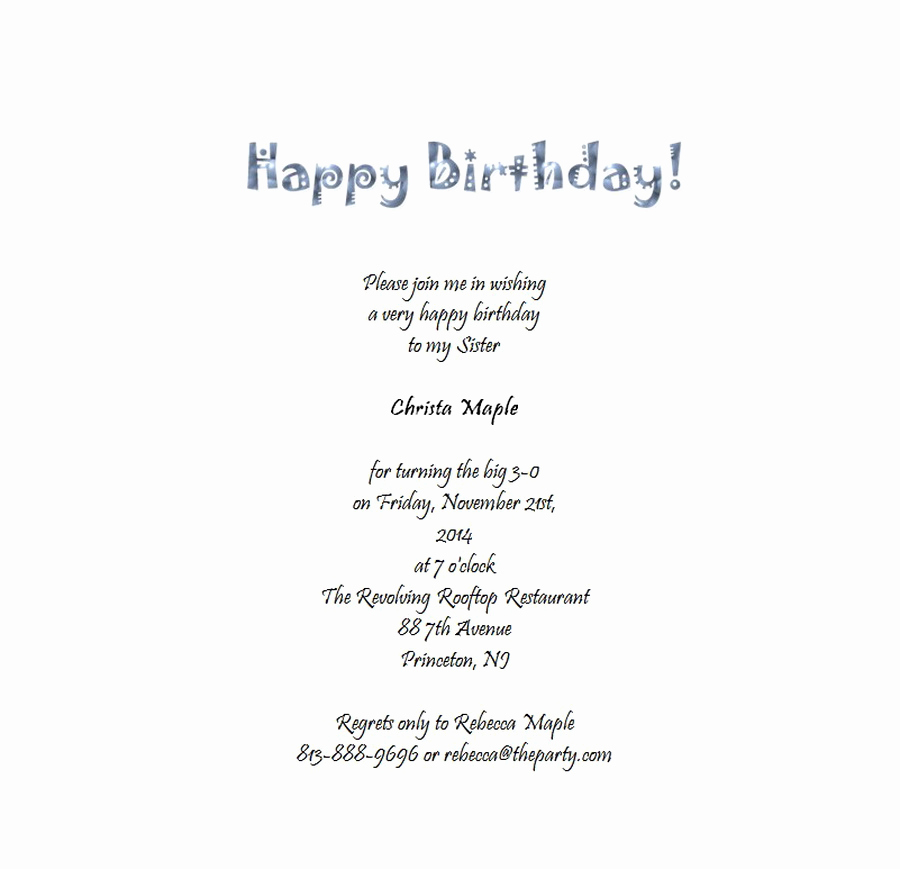 Birthday Invitation Wording for Adults New Adult S 30th Birthday Invitation 6 Free Wording