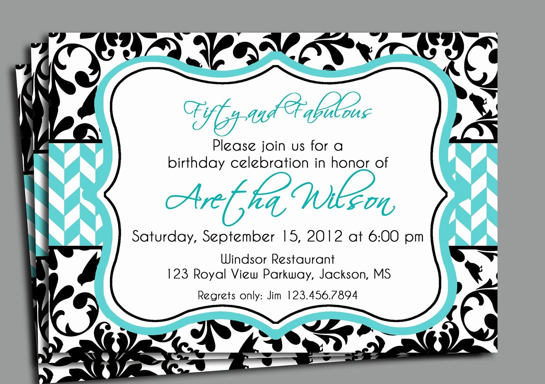 Birthday Invitation Wording for Adults New Black Damask Invitation Printable Bridal Shower Adult