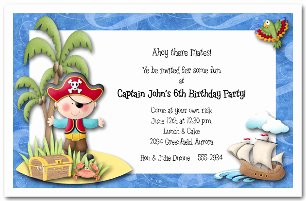 Birthday Invitation Wording for Kids Awesome Boy Pirate island Party Invitations Pirate Birthday