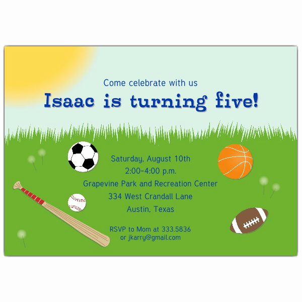 Birthday Invitation Wording for Kids Beautiful All Sports Kids Birthday Party Invitations