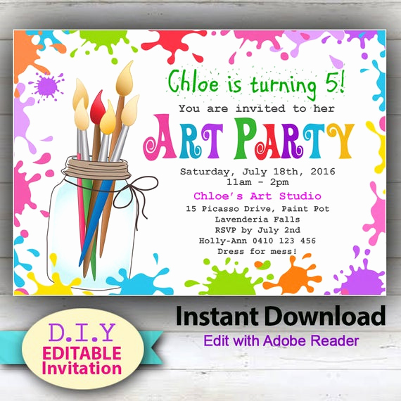 Birthday Invitation Wording for Kids Beautiful Editable Printable Art Party Invitation Children S