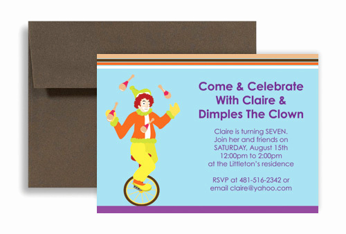 Birthday Invitation Wording for Kids Elegant Children Magic Clown Show Birthday Invitation Wording 7x5