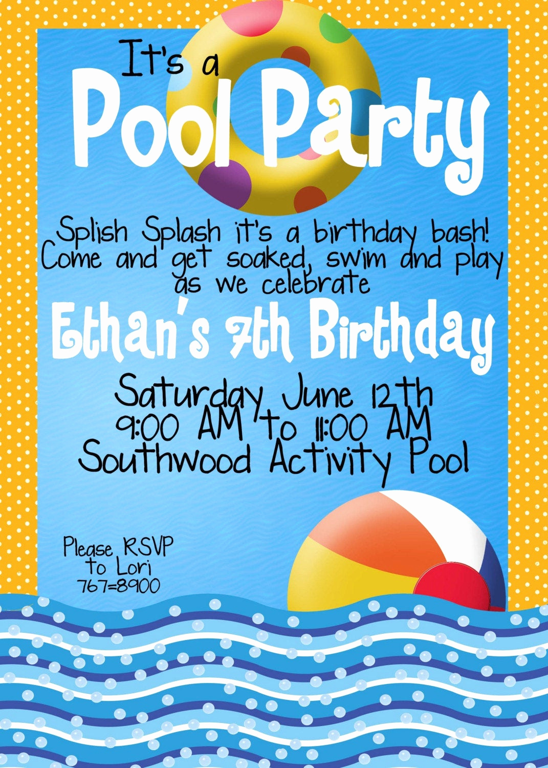 Birthday Invitation Wording for Kids Elegant Pool Party Invitations by Magicbymarcy On Etsy