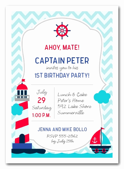Birthday Invitation Wording for Kids Fresh Nautical Kid First Birthday Party Invitations
