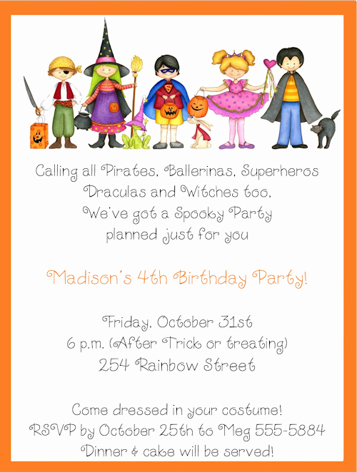 Birthday Invitation Wording for Kids Luxury Halloween Birthday Invitations for Kids