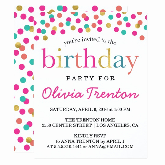 Birthday Invitation Wording for Kids New Colorful Confetti Kids Birthday Party Invitations