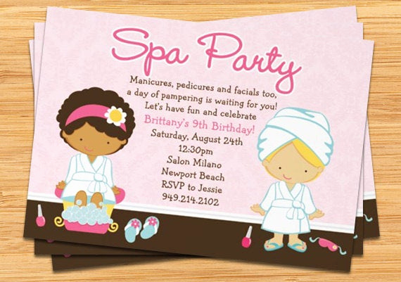 Birthday Invitation Wording for Kids Unique Spa Party Kids Birthday Invitation