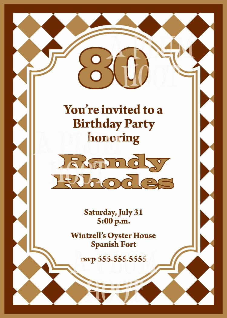 Birthday Party Invitation Ideas Fresh 15 Sample 80th Birthday Invitations Templates Ideas