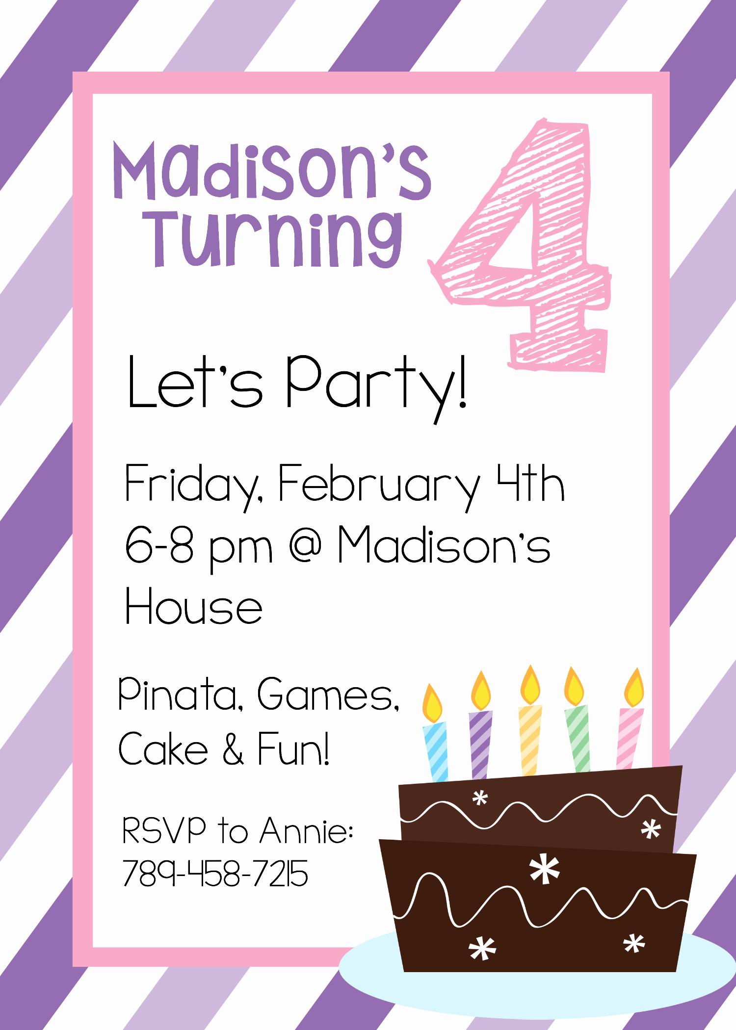 Birthday Party Invitation Template Inspirational Free Printable Birthday Invitation Templates