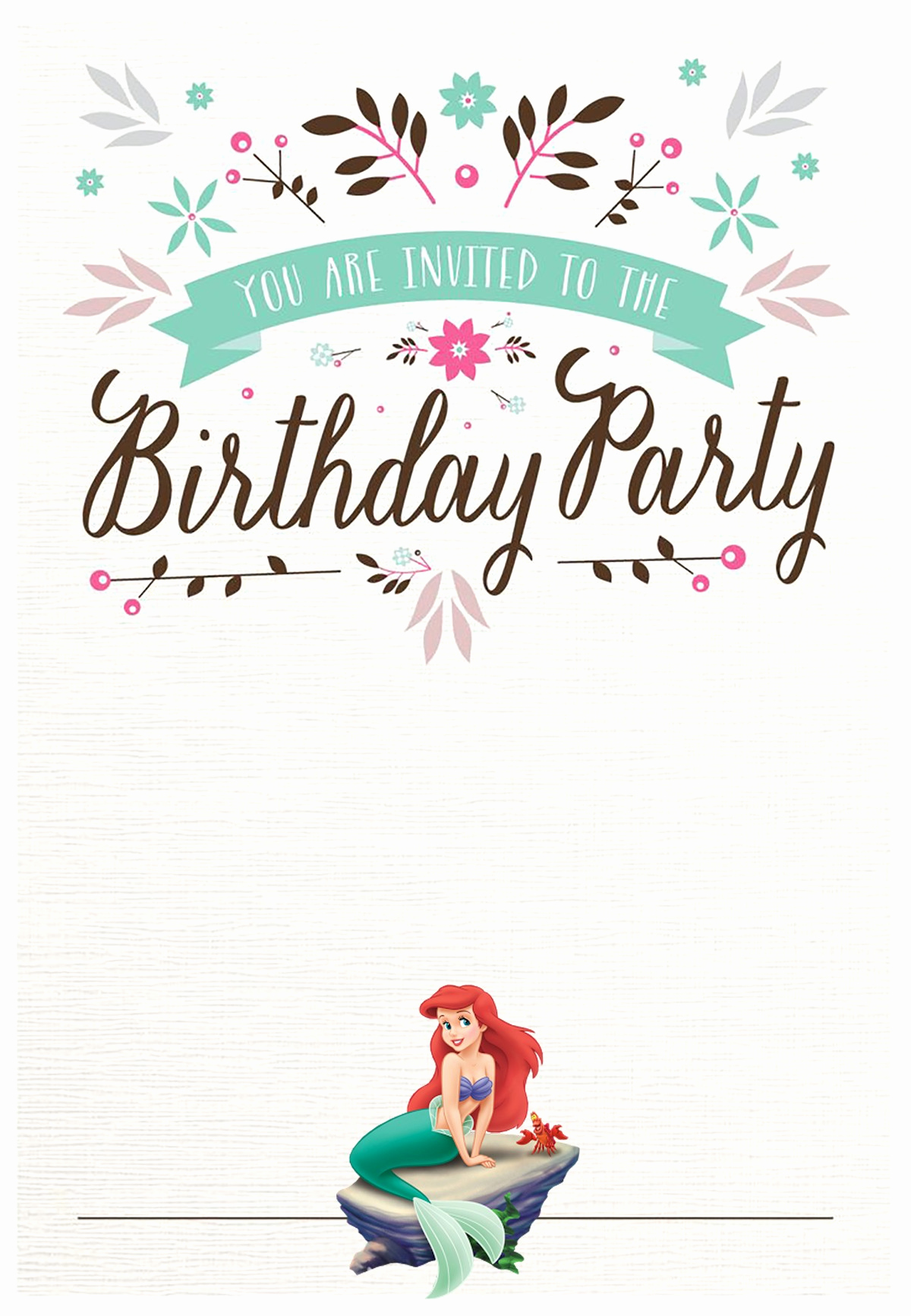 Birthday Party Invitation Template Lovely Little Mermaid Free Printable Invitation Templates