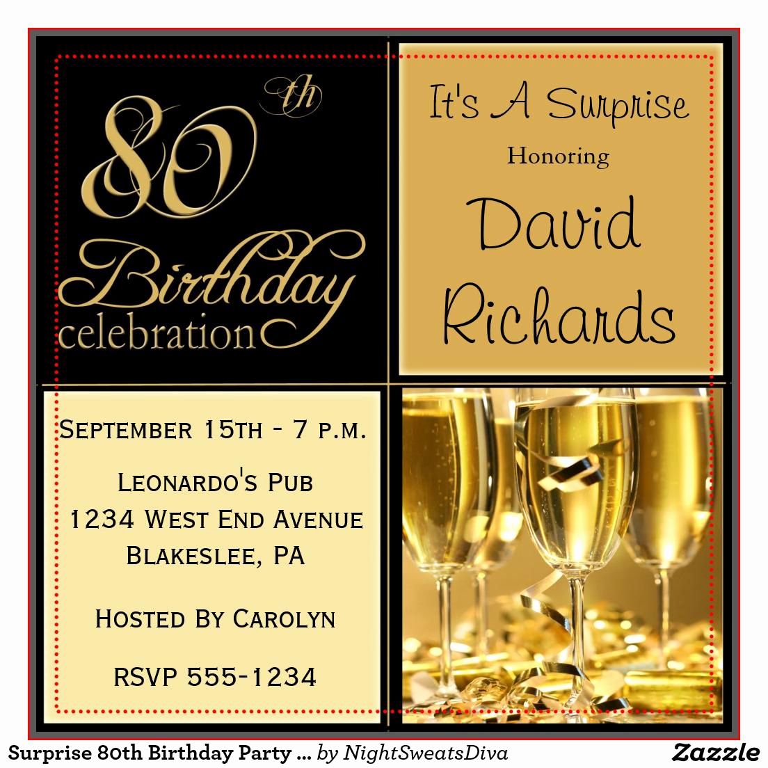 Birthday Party Invitation Template Luxury 15 Sample 80th Birthday Invitations Templates Ideas