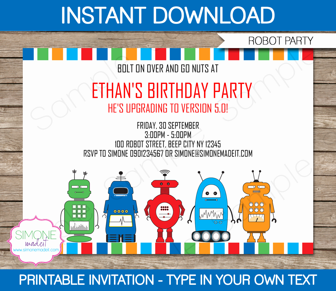 Birthday Party Invitation Template Luxury Robot Party Invitations Template
