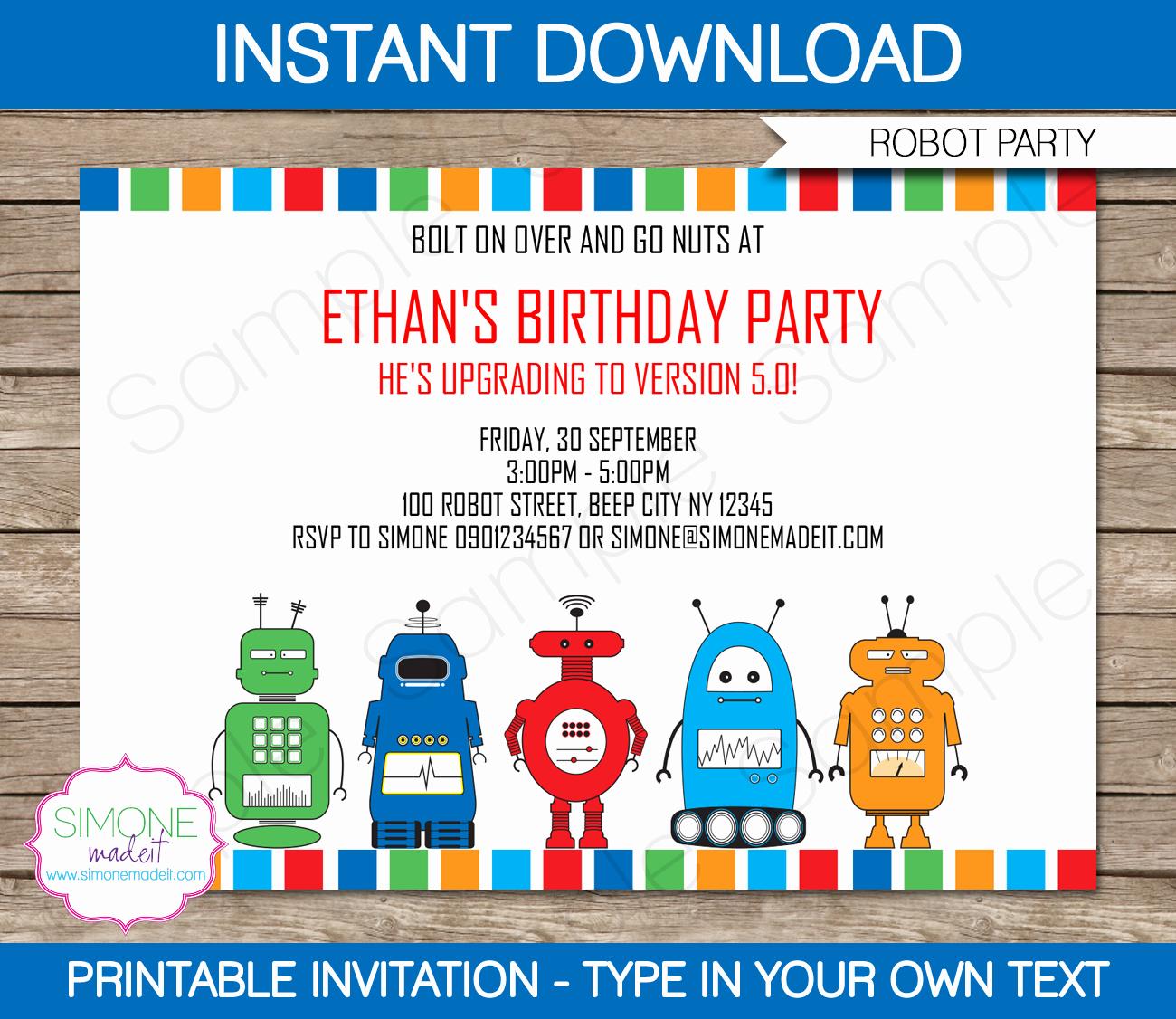Birthday Party Invitation Template Luxury Robot Party Invitations Template