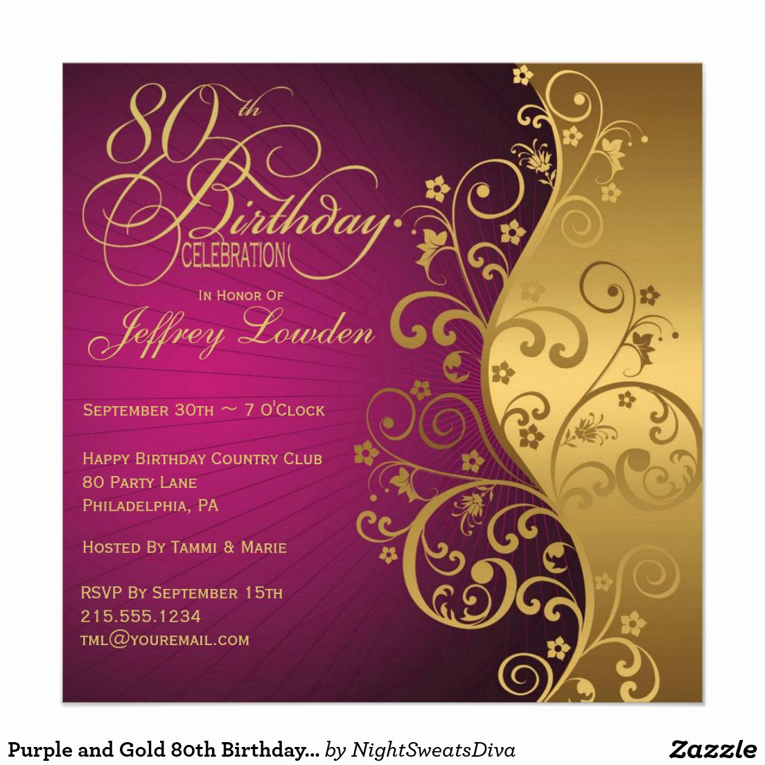Birthday Party Invitation Template New 15 Sample 80th Birthday Invitations Templates Ideas