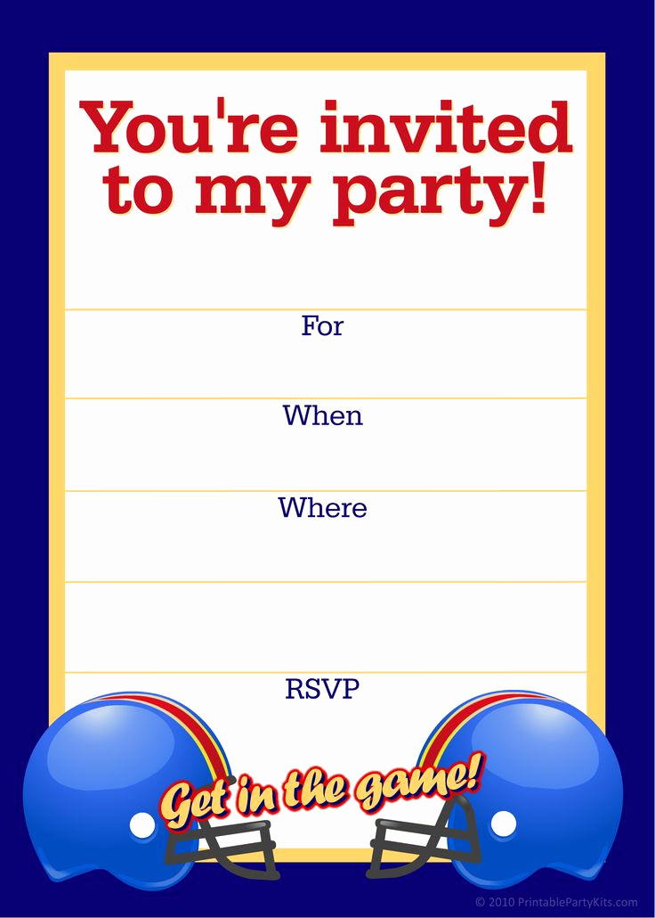 Birthday Party Invitation Templates Awesome Free Printable Sports Birthday Party Invitations Templates