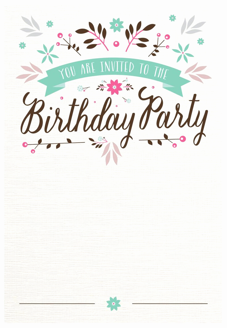 Birthday Party Invitation Templates Beautiful Flat Floral Free Printable Birthday Invitation Template