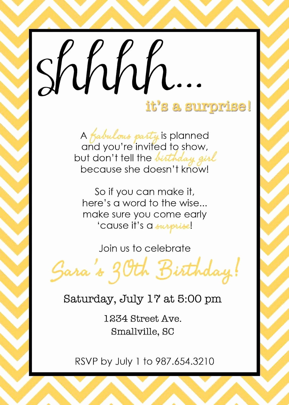 Birthday Party Invitation Templates Beautiful Wording for Surprise Birthday Party