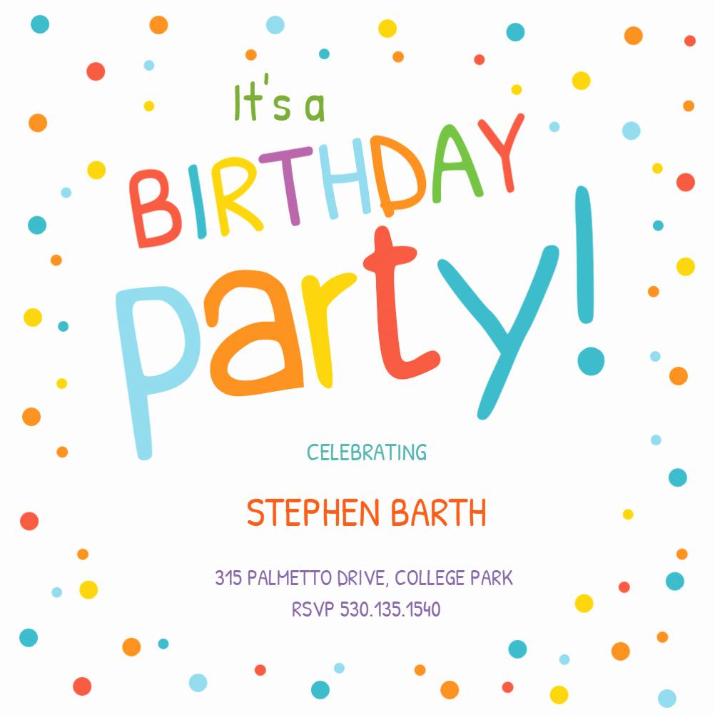 Birthday Party Invitation Templates Lovely Confetti Dots Border Birthday Invitation Template Free
