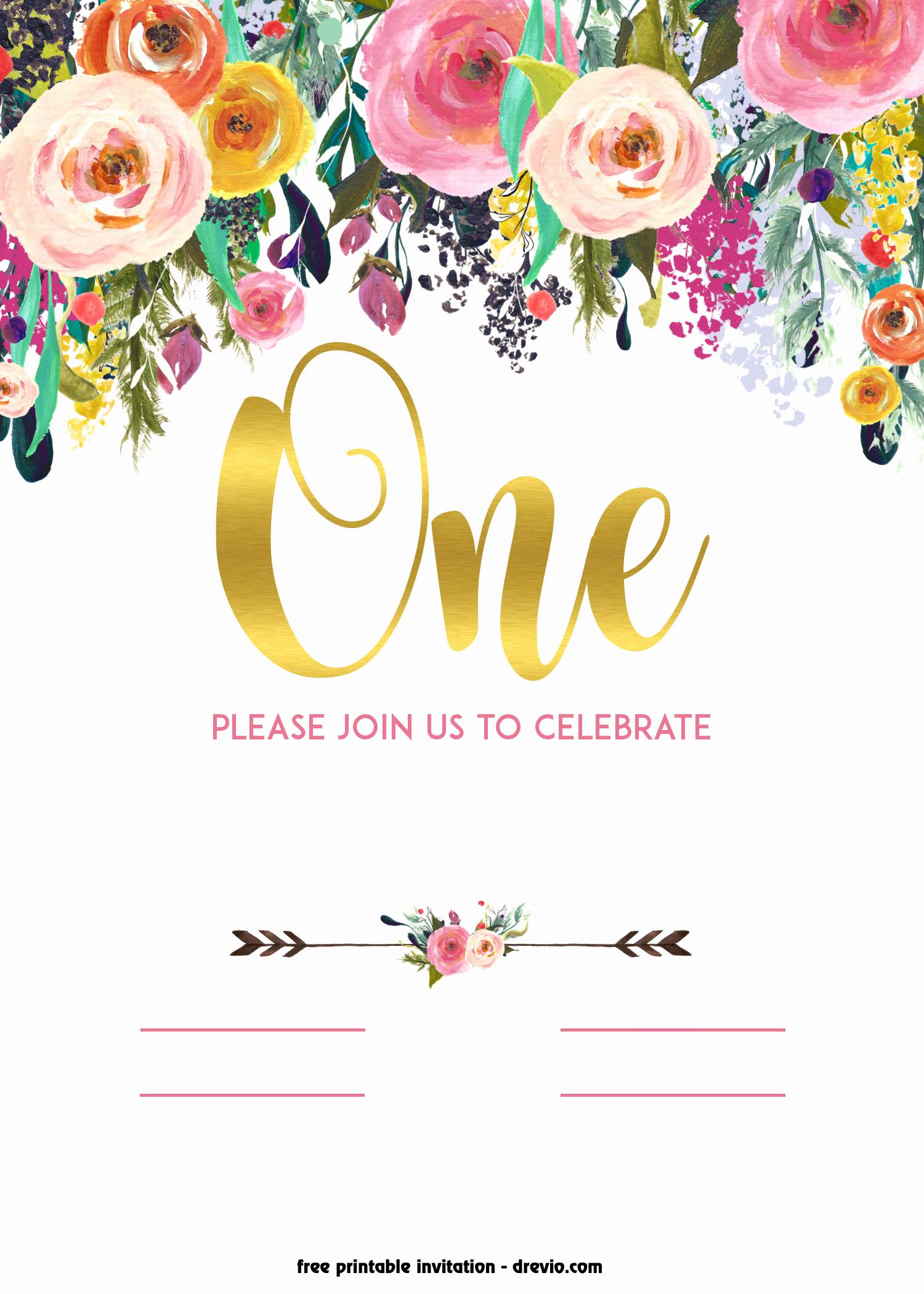 Birthday Party Invitation Templates New Free Printable 1st Birthday Invitation – Vintage Style