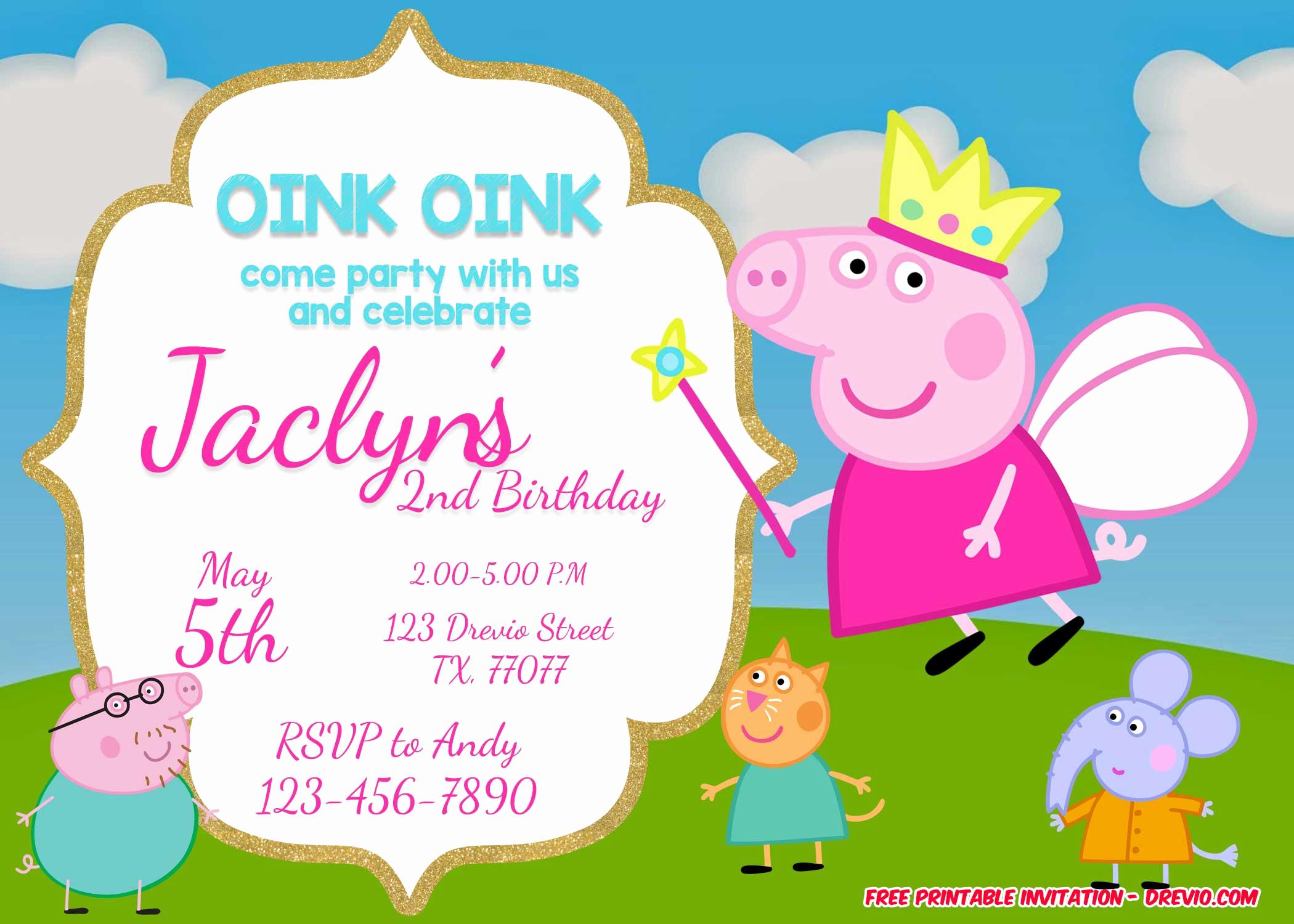 Birthday Party Invitation Templates Unique Free Printable Peppa Pig Invitation Birthday Templates