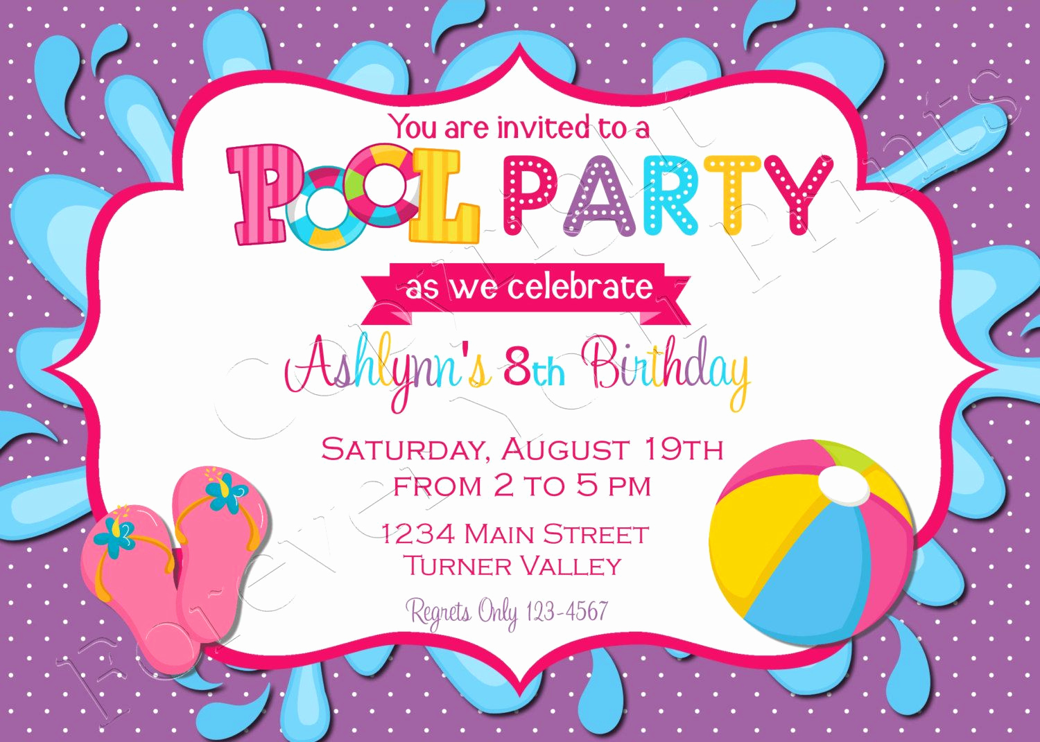 Birthday Pool Party Invitation Wording Awesome Pool Party Birthday Invitation Free Thank You Card