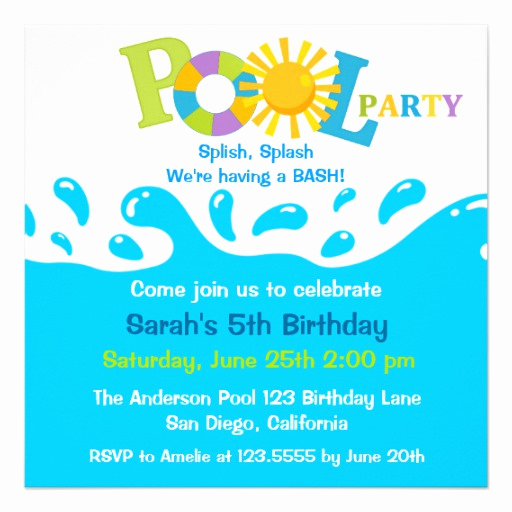 Birthday Pool Party Invitation Wording Awesome Water Splash Boy Pool Party Birthday Invitation 5 25