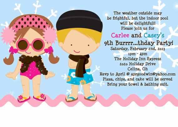 Birthday Pool Party Invitation Wording Beautiful Pool Party Birthday Invitations Ideas – Bagvania Free