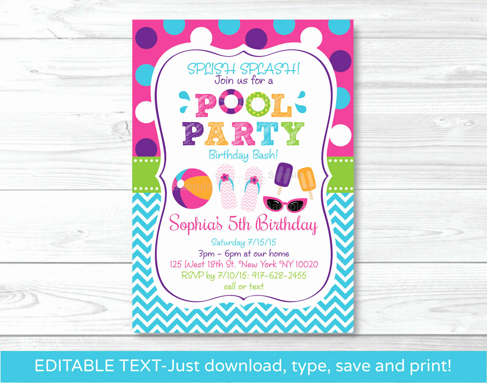 Birthday Pool Party Invitation Wording Best Of Girls Pool Party Printable Birthday Invitation Editable