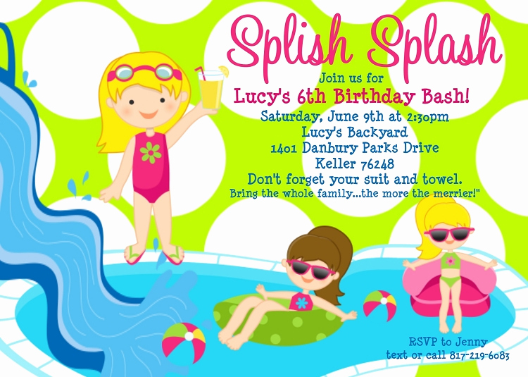 Birthday Pool Party Invitation Wording Elegant Free Printable Birthday Pool Party Invitations