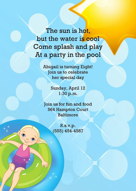 Birthday Pool Party Invitation Wording Elegant Swimming Pool Party Birthday Invitation Stealing the