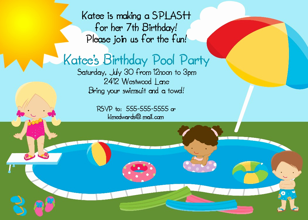 Birthday Pool Party Invitation Wording Inspirational Bear River Greetings Pool Party Birthday Invitation