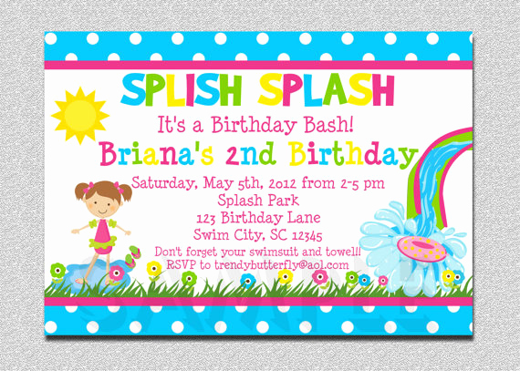 Birthday Pool Party Invitation Wording Lovely Birthday Invitation Wording for Kids Say No Gifts