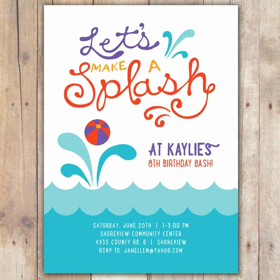 Birthday Pool Party Invitation Wording Luxury Splash Custom Digital Birthday Pool Party Invitation Invite