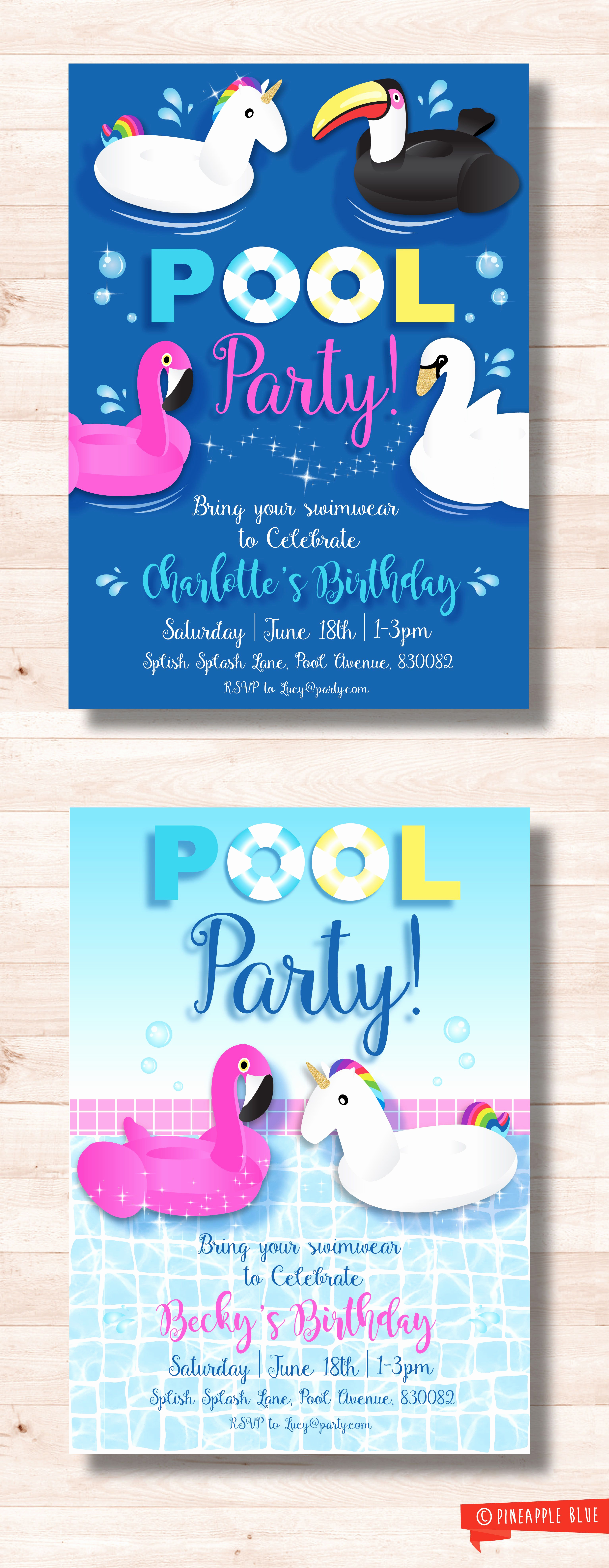 Birthday Pool Party Invitation Wording Luxury Unicorn Pool Party Invitation