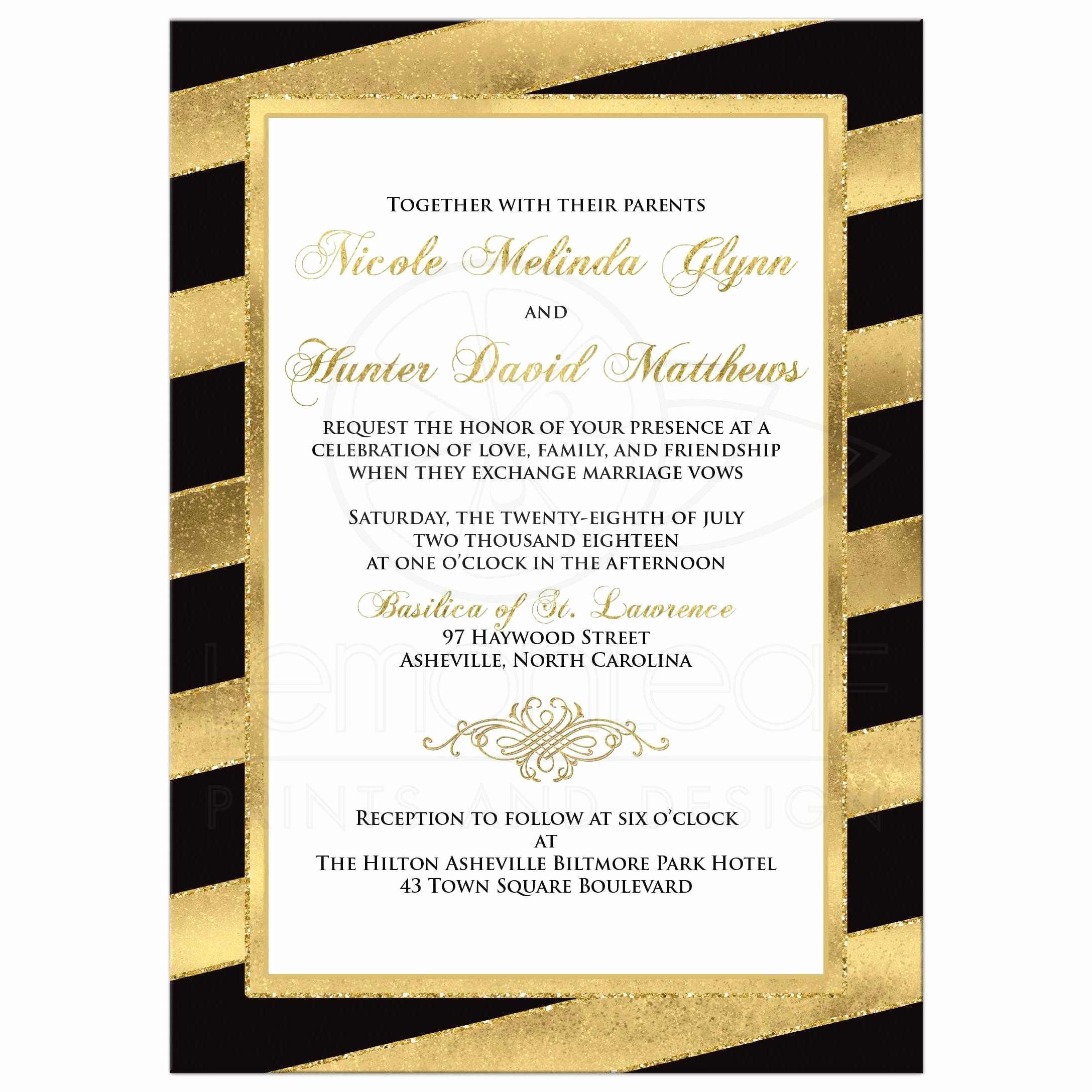 Black and Gold Invitation Inspirational Bold Diagonal Stripes Wedding Invitation