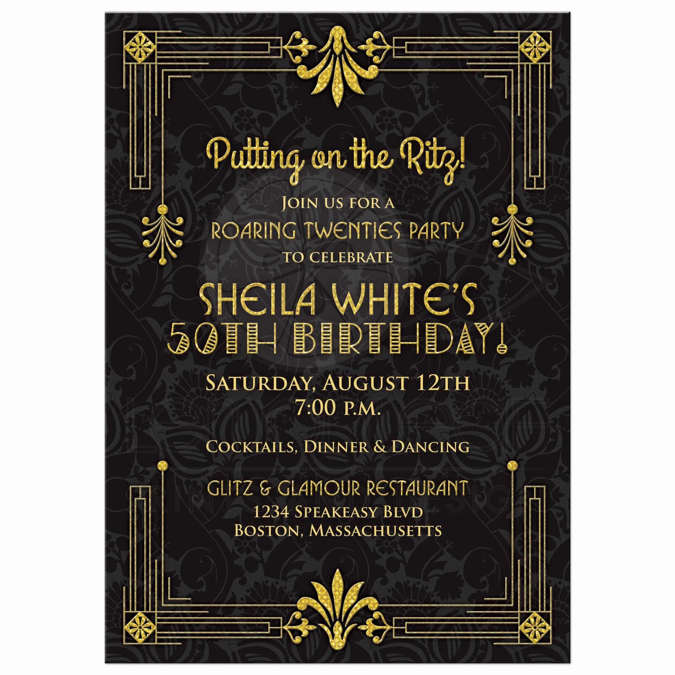 Black and Gold Invitation Lovely 50th Birthday Invitation