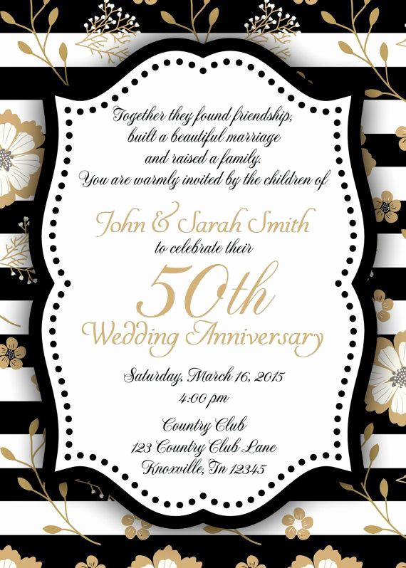 Black and Gold Invitation New Black and Gold 50th Anniversary Invitation