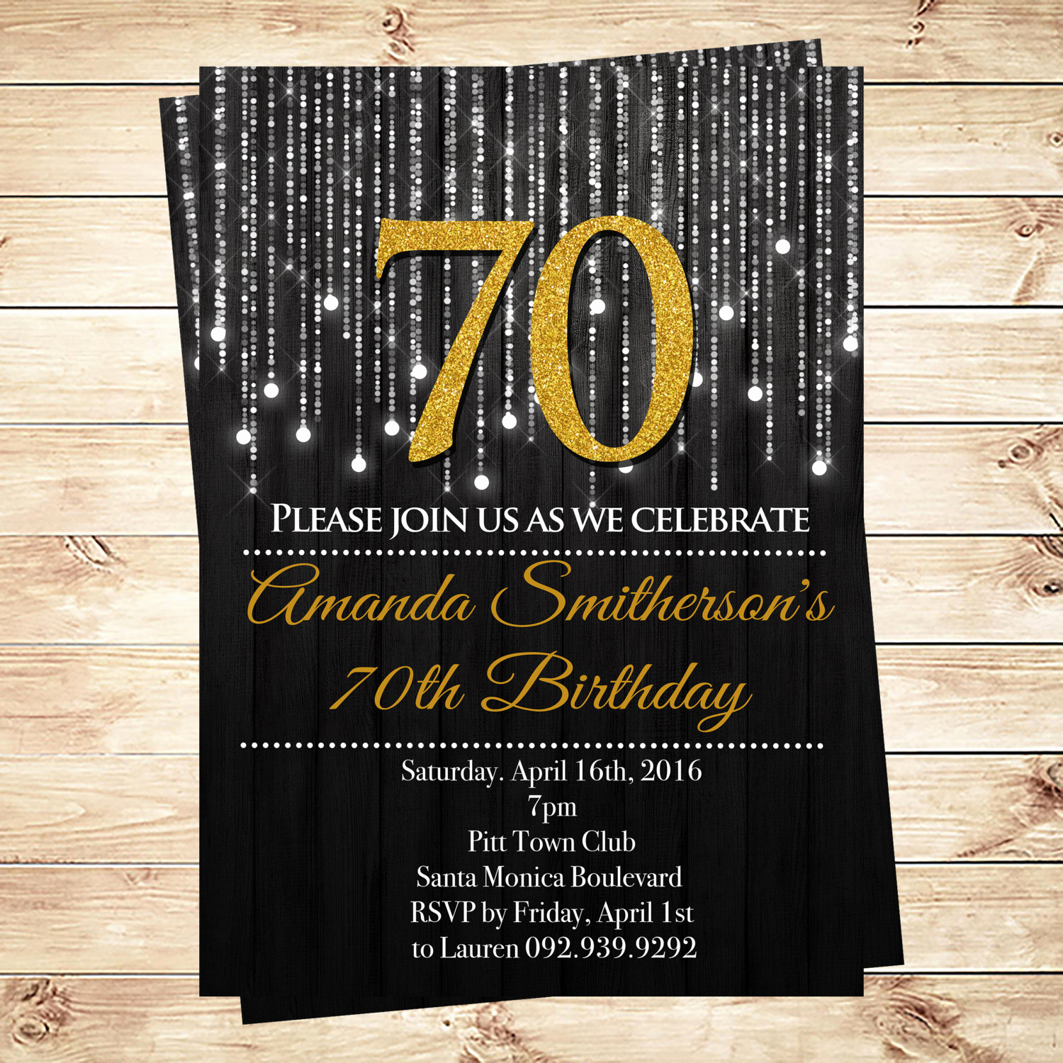 Black and Gold Invitation Template Beautiful Black and Gold 70th Birthday Invitations by Diypartyinvitation