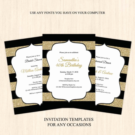 Black and Gold Invitation Template Beautiful Black Gold Glitter Invitation Template Adult Birthday