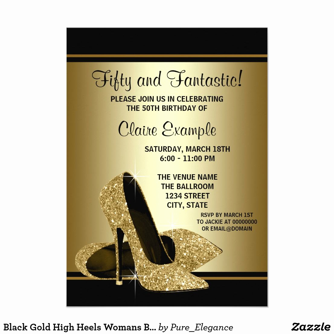 Black and Gold Invitation Template Beautiful Black Gold High Heels Womans Birthday Party Invitation